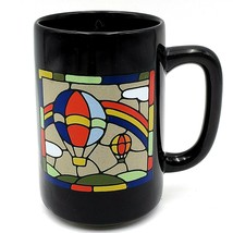 Otagiri Black Mug Stained Glass Art Hot Air Balloons Rainbow Flower Japan - $15.88