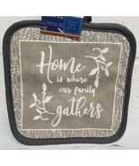 "2 Same Printed Kitchen Pot Holders (7""x7') HOME IS WHERE OUR FAMILY GATH... - $7.91"