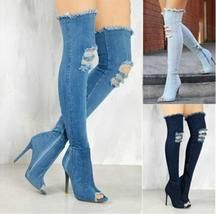New Women's Over Knee High Boot Ripped Denim High Heel Long Thigh Boots Shoes