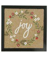 Framed Christmas Picture Text -Joy- Wreath XM20 DOLLHOUSE Miniature - $9.53
