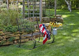 Distressed Black Bench Rocking Rocker Patio Outdoor Porch Garden Furnitu... - $296.01
