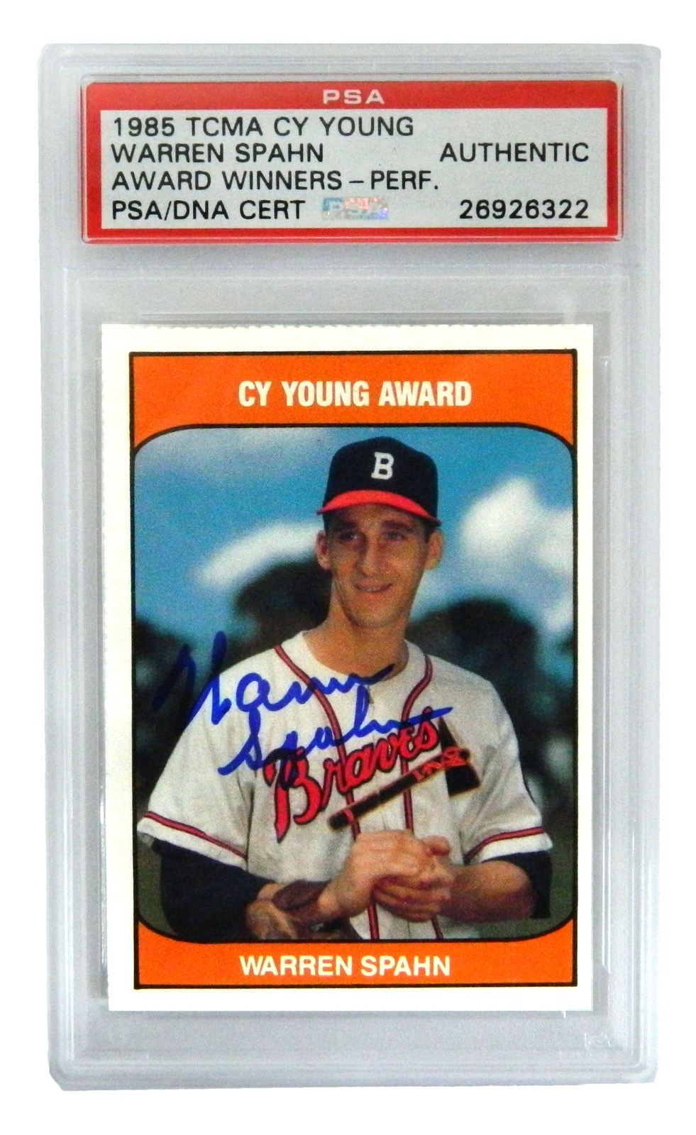 Primary image for Warren Spahn Signed Braves 1985 TCMA Cy Young Trading Card - (PSA Encapsulated)