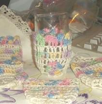 Hand Knit/Crochet Juice Glass Cozies Set of 6 Pastel Colors - $19.79