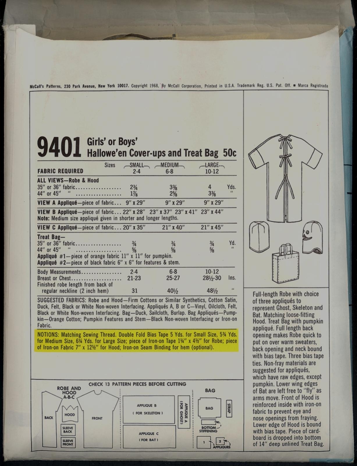 60s Size 2 4 Easy Halloween Costume Treat Bag McCalls 9401 Pattern Vintage Child