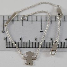 18K WHITE GOLD BRACELET 6.70 INCHES, FLAT GIRL AND PLATE FOR NAME, MADE IN ITALY image 1