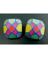 Vintage Wooden Earrings Geometric Shape Colorful Post Pierced - $13.96
