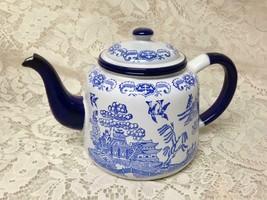 Antique, Blue Willow Enamelware Teapot or Tea Kettle 9in x 6in - $151.95
