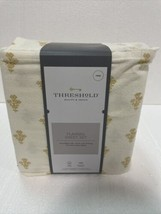 THRESHOLD Printed Gold Flower 100% Cotton Flannel Sheet Set Twin NEW - $29.60