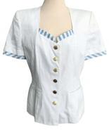 80s does 50s ESCADA White Blue Striped Trim Golden Button Nautical Ladie... - $95.00