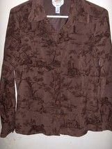 Talbots Brown Long Sleeve Button Down Shirt, Size Petite Small - $13.99