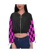Black and Pink Checkers Women's Chiffon Cropped Jacket - $59.98
