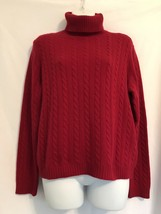 ANN TAYLOR Red Cable Knit Long Sleeve 100% Cashmere Turtleneck Sweater M - $28.91