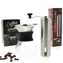 Ultimate Pour Over Coffee Maker Kit: Precision Stainless Steel Ceramic Burr - $36.34