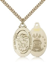 Air Force Medal Pendant - Gold Filled St. Michael medal and chain
