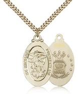 Air Force Medal Pendant - Gold Filled St. Michael medal and chain - $169.99
