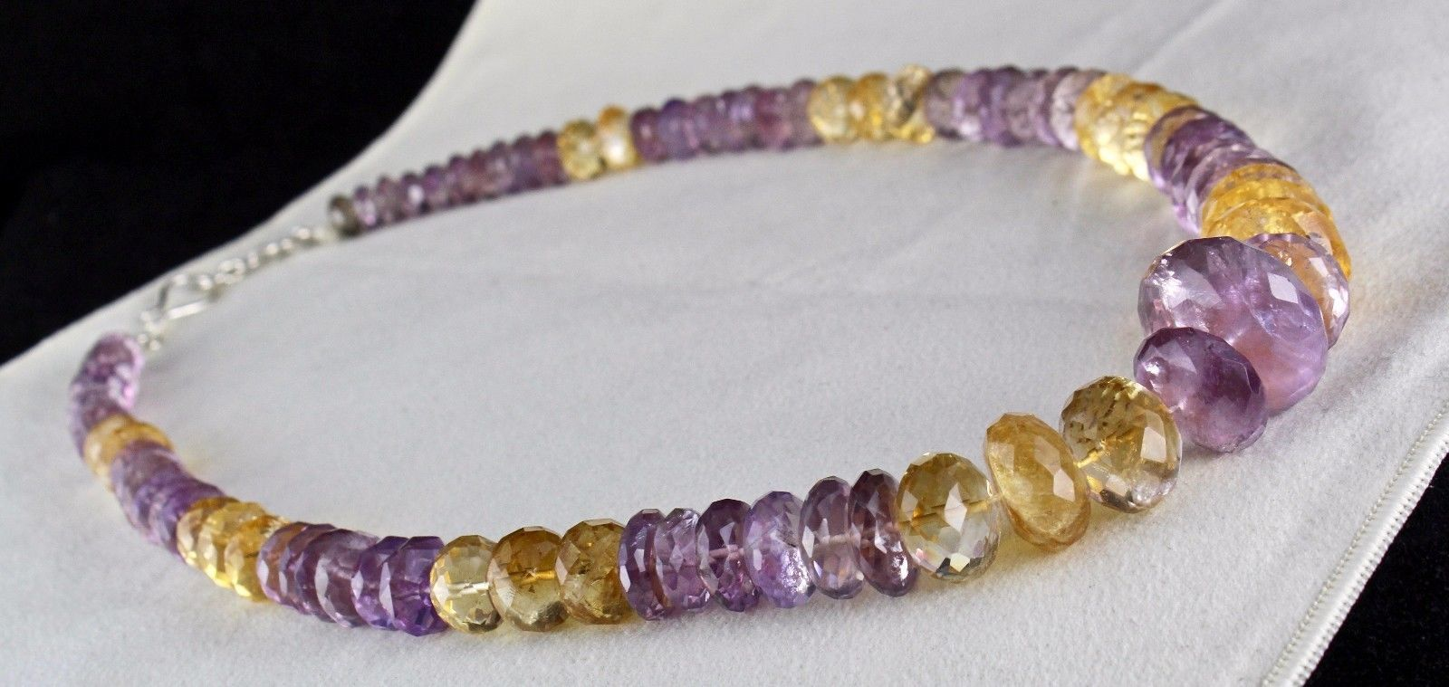 NATURAL CITRINE AMETHYST BEADS FACETED 1 LINE 875 CARATS GEMSTONE NECKLACE image 6