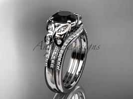 Black Diamond Butterfly ring 14kt white gold diamond wedding ring set AD... - $2,595.00