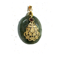 Green Aventurine Heart Shape Leaf Pendant Rekie Jewelry Neacklesh - $6.00