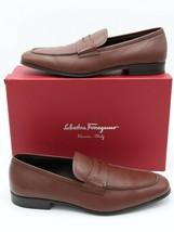 NIB Salvatore Ferragamo Mens Fiorino 2 Brown Leather Penny Loafers 11 44 EE $575 - $325.00
