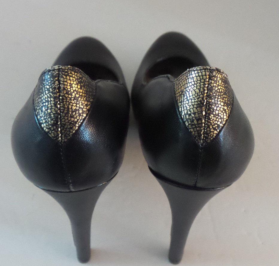 f937401a7e885f SAM EDELMAN Yasmine black leather high heels pump Touch of Gold Size 5.5