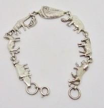Noah's Ark Animal Signed MC Sterling Silver 925 Link Tennis Polished Bra... - $65.00