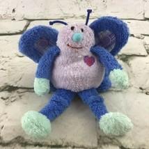Butterfly Plush Finger Puppet Blue Soft Crinkle Wings Sensory Stuffed Toy  - $9.89