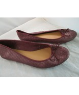 Women's Mia Girl Maroon Woven Ballet Flats Size 8.5 with String Bow Pre-... - $9.99