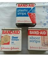 Vintage Band-Aid Tins Lot Of 3 Empty Johnson & Johnson-Hinged Metal Adve... - $15.00