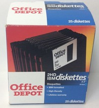 "25 IBM Diskettes 3.5"" Office Depot 2HD IBM formatted OPENED BOX - $22.09"