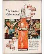 Vintage magazine ad ORANGE CRUSH from 1959 with large bottle and caps pi... - $12.99