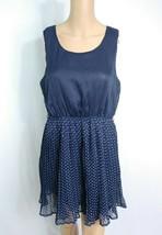 Forever 21 Polka Dot Pleated Slip Sundress L Navy Blue White Rockabilly ... - $7.70