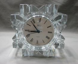 Mikasa Austria StarFire Crystal Clear Glass Star Quartz Round Clock Germany Made image 1