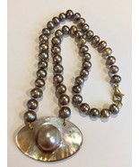 """Blister Pearl Necklace 16"""" Akoya strand 14k gold filled Bronze Pink Baroque - $193.00"""