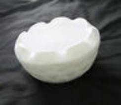 Diamond Quilted Rose Bowl Duette Pattern from Indiana Glass Milk Glass - $12.81