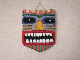 punch needle, home decoration, hawaiian mask, an idol, god tiki - $65.00