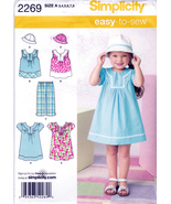 Simplicity 2269 Girls Dress Top Pants Hat Childrens Sewing Pattern Kids ... - $6.25