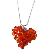 Fire Opal Swarovski Crystals Autumn 3D Puffy Heart Pendant Necklace  - $22.00