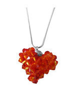 Fire Opal Swarovski Crystals Autumn 3D Puffy Heart Pendant Necklace  - $28.87 CAD