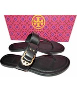 Tory Burch Marsden Flat Thongs Sandals Black Leather Shoe Flip Flops 10.5 - $149.00