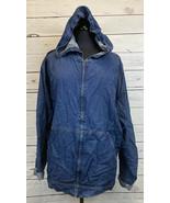 Karen Kane Lifestyle Lightweight Denim Zip Hoodie Jacket Top W/ Pockets ... - $38.88