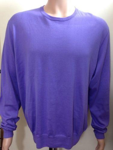 RALPH LAUREN UOMO Maglione in cotone colore viola. ETICHETTA NERA TAGLIA XXL