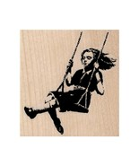 Mounted Rubber Stamp, Banksy Swing Girl, Playing, Playground, Kids, Chil... - $10.40