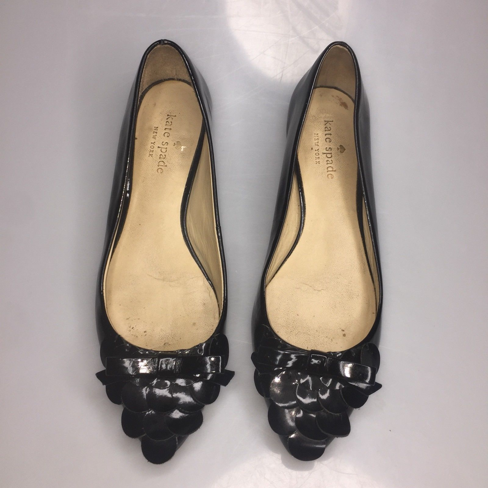 Kate Spade Bow Patent Leather Pointy Toe Black Flats Women's Size 6 M