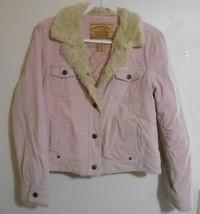 Aeropostale Light or Baby Pink Corduroy Jacket Coat Faux Fur Large Snap ... - $9.99