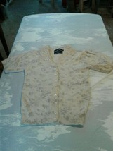 Vintage Ralph Lauren Womens Small Cotton White Cardigan Love Trim (cb45) - $46.75