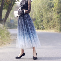 Sequined Tulle Midi Skirt Outfit Navy Gold Sparkly Midi Bridesmaid Skirt Custom image 7