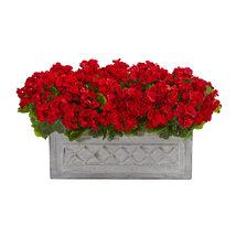 """18"""" Geranium Artificial Plant in Stone Planter UV Resistant (Indoor/Outd... - $139.99"""