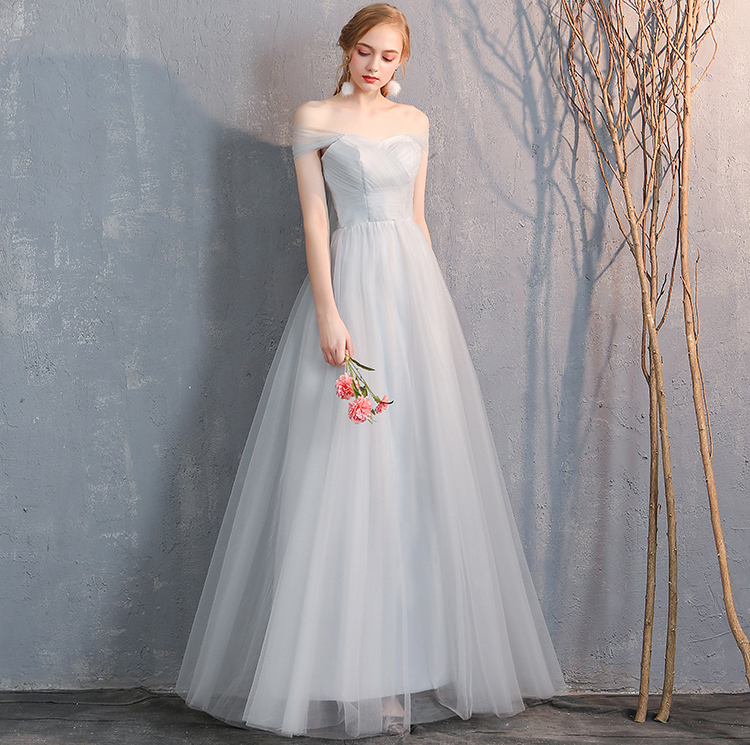 Bridesmaid tulle dress light gray 5