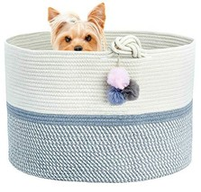 """Extra Large Cotton Rope Basket 21.7""""x21.7""""x13.8"""" Soft and Safe for Kid's Room La"""
