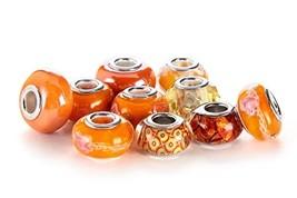 BRCbeads 10Pcs Mix Silver Plate Orange Theme Murano (10 Pcs|Orange Theme) - $12.06